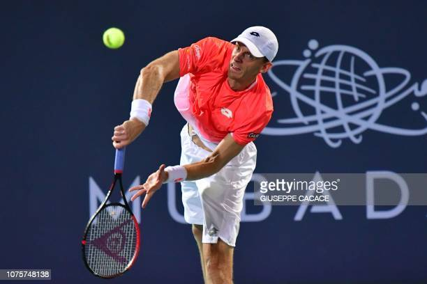 South Africas Kevin Anderson returns the ball to Serbia's Novak Djokovic during the Mubadala World Tennis Championship 2018 final match in Abu Dhabi...