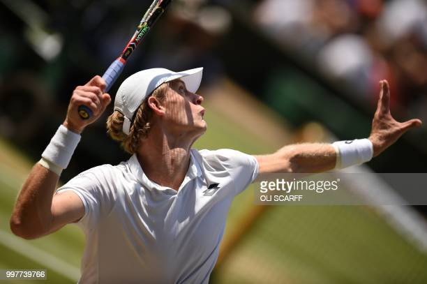 TOPSHOT South Africa's Kevin Anderson serves against US player John Isner during their men's singles semifinal match on the eleventh day of the 2018...