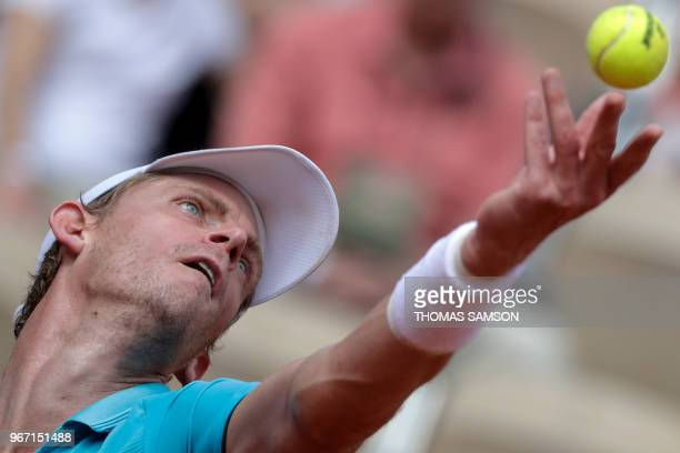 South Africa's Kevin Anderson serves to Argentina's Diego Schwartzman during their men's singles fourth round match on day nine of The Roland Garros...
