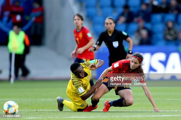 South Africa's Kholosa Biyana and Spain's Aitana Bonmati battle for the ball Spain v South Africa FIFA Women's World Cup 2019 Group B Stade Oceane