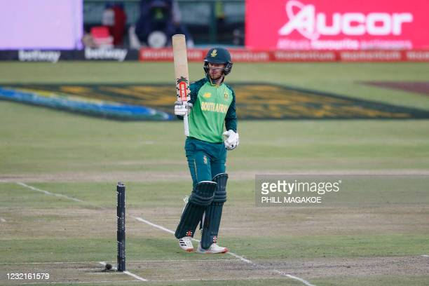 South Africa's Kyle Verreynne celebrates after scoring a half-century during the third one-day international cricket match between South Africa and...