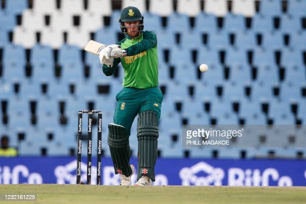 South Africa's Kyle Verreynne plays a shot during the third one-day international cricket match between South Africa and Pakistan at SuperSport Park...
