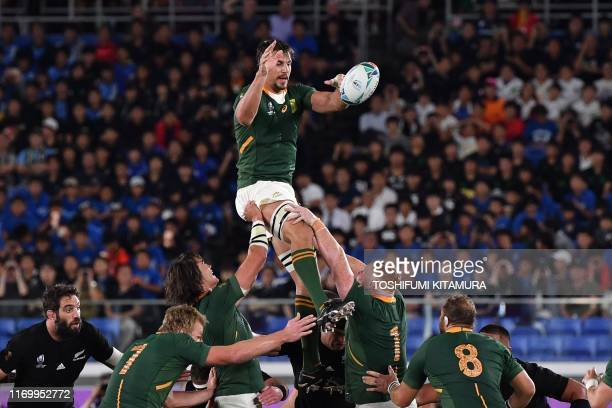 TOPSHOT South Africa's lock Eben Etzebeth catches the ball during the Japan 2019 Rugby World Cup Pool B match between New Zealand and South Africa at...