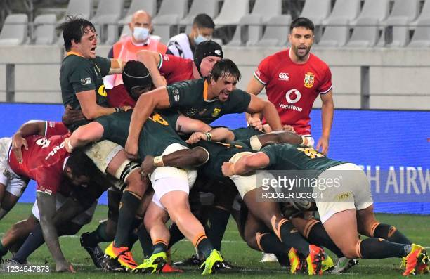 South Africa's lock Eben Etzebeth shouts in a rolling maul during the third rugby union Test match between South Africa and the British and Irish...