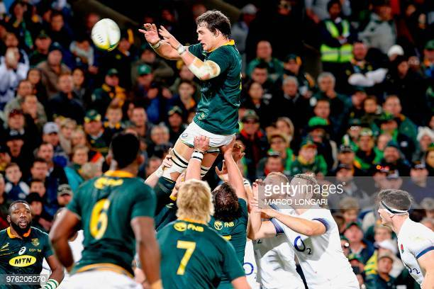 South Africa's lock Franco Mostert wins a line out during the second test match South Africa vs England at the Free State Stadium in Bloemfontein on...