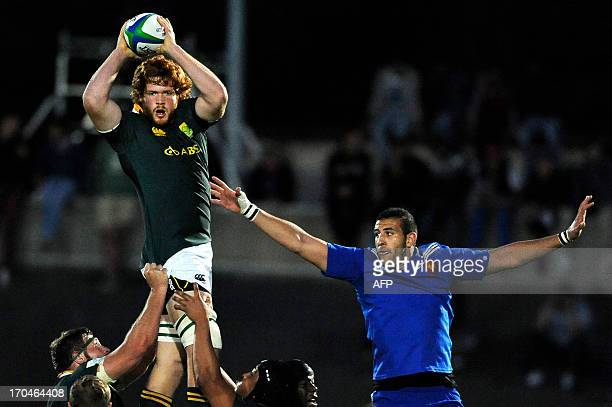 South Africa's lock Jannes Kirsten catches the ball in a lineout despite of France's prop Alexis Valette during the IRB Junior World Championship...