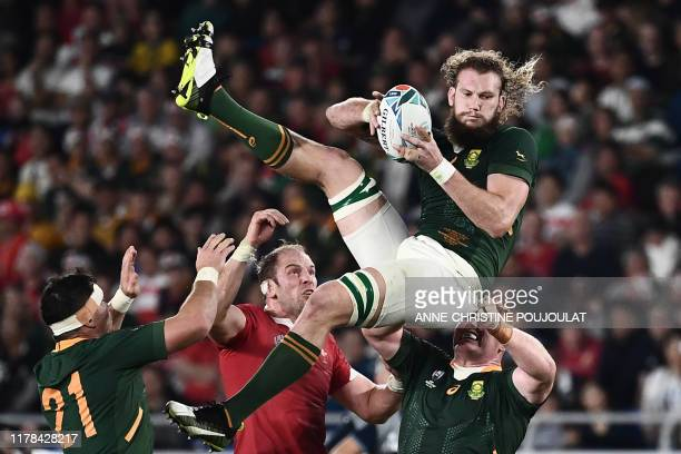 South Africa's lock RG Snyman holds onto the ball during the Japan 2019 Rugby World Cup semifinal match between Wales and South Africa at the...