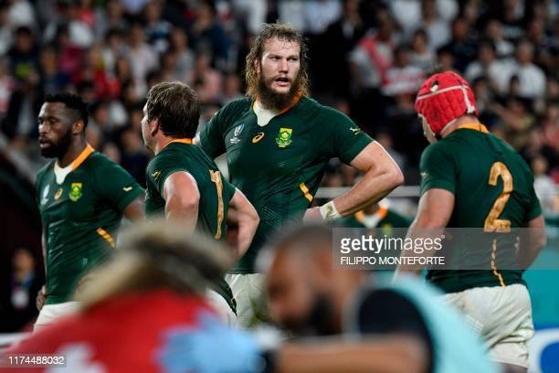 South Africa's lock RG Snyman looks on during the Japan 2019 Rugby World Cup Pool B match between South Africa and Canada at the Kobe Misaki Stadium...