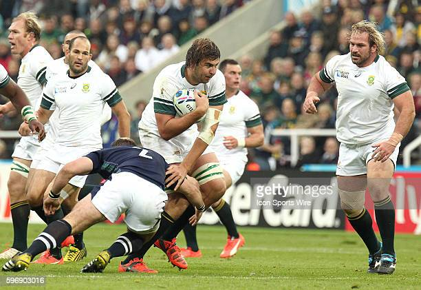South Africa's Lood de Jager evades the tackle of Scotland's Fraser Brown during the Pool B play between South Africa and Scotland at St James's Park...