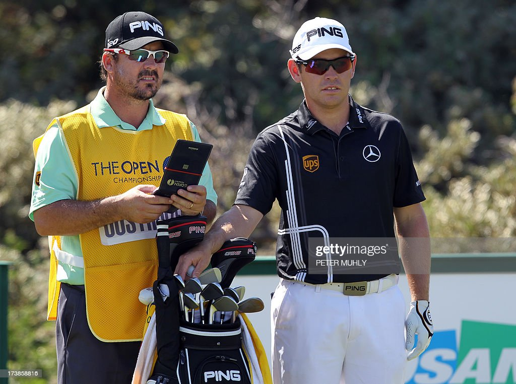 South Africa's Louis Oosthuizen prepares to play the third tee during the first round of the 2013 British Open Golf Championship at Muirfield golf course at Gullane in Scotland on July 18, 2013 .