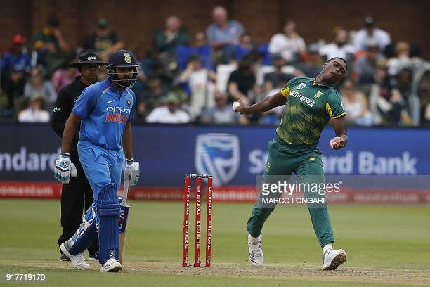 South Africa's Lungi Ngidi bowls during the fifth One Day International cricket match between South Africa and India at St George Park in Port...
