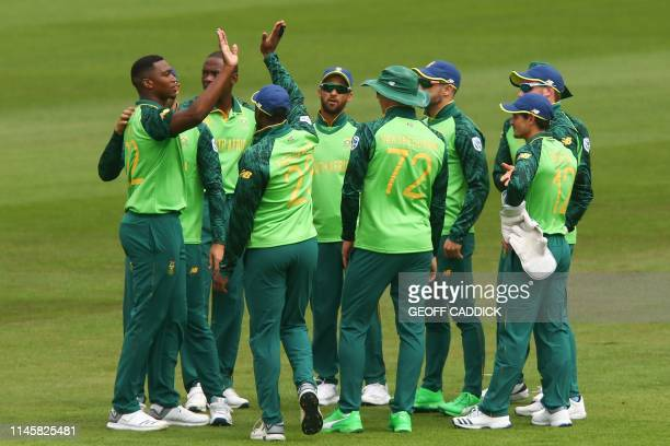 South Africa's Lungi Ngidi celebrates taking the wicket of Sri Lanka's Lahiru Thirimanne during the 2019 Cricket World Cup warm up match between Sri...