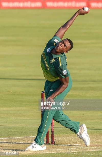 South Africa's Lungi Ngidi delivers a ball during the second one day international cricket match between South Africa and Sri Lanka at The Supersport...