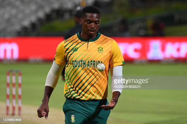 South Africa's Lungi Ngidi prepares to deliver a ball during the third T20 international cricket match between South Africa and England at Newlands...