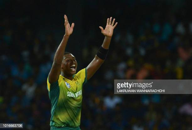 South Africa's Lungi Ngidi unsuccessfully appeals for a Leg Before Wicket decision against Sri Lanka's Dhananjaya de Silva during the international...