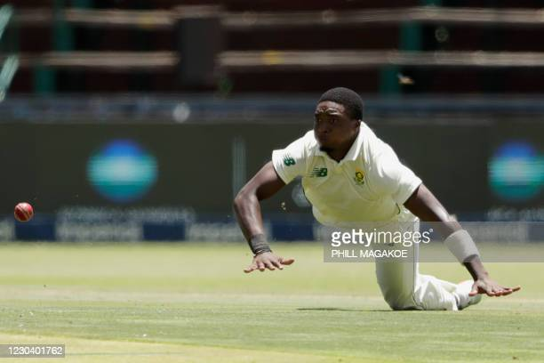 South Africa's Lutho Sipamla fields during the first day of the second Test cricket match between South Africa and Sri Lanka at the Wanderers stadium...