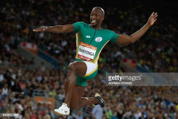 South Africa's Luvo Manyonga competes in the athletics men's F38 shot put final during the 2018 Gold Coast Commonwealth Games at the Carrara Stadium...