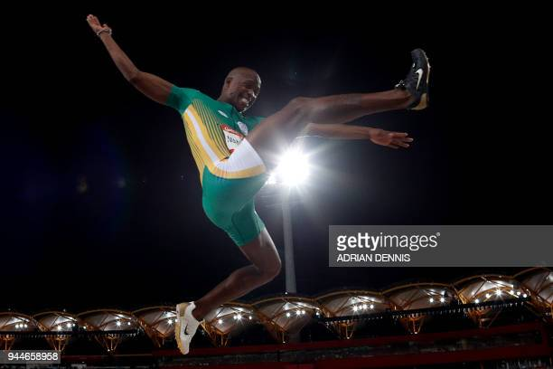 TOPSHOT South Africa's Luvo Manyonga competes in the athletics men's long jump final during the 2018 Gold Coast Commonwealth Games at the Carrara...