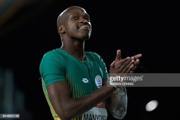 South Africa's Luvo Manyonga reacts during the athletics men's long jump final during the 2018 Gold Coast Commonwealth Games at the Carrara Stadium...