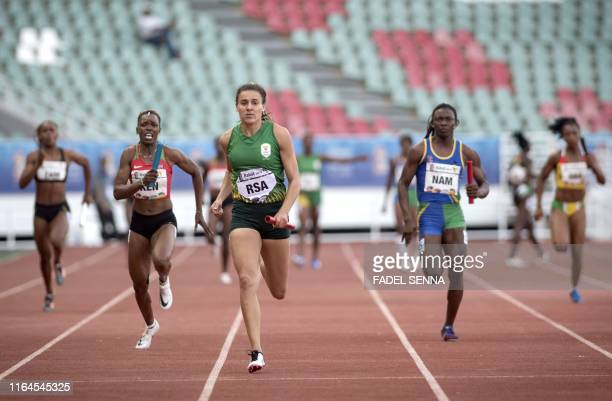 South Africa's Lynique Beneke competes during the Women's 4x100m Relay at the 12th edition of the African Games on August 28 2019 in Rabat