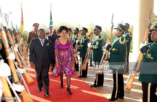 South Africa's Minister of Defence Lindiwe Sisulu and Mozambique's Minister of Defence Filipe Jacinto Nyusi attend the commencement of negotions...