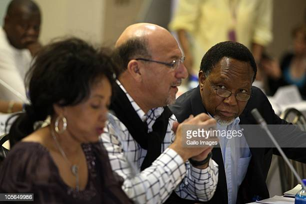 South Africa's Minister of defence Lindiwe Sisulu minister of national planning Trevor Manuel and deputy President Kgalema Motlanthe during the...