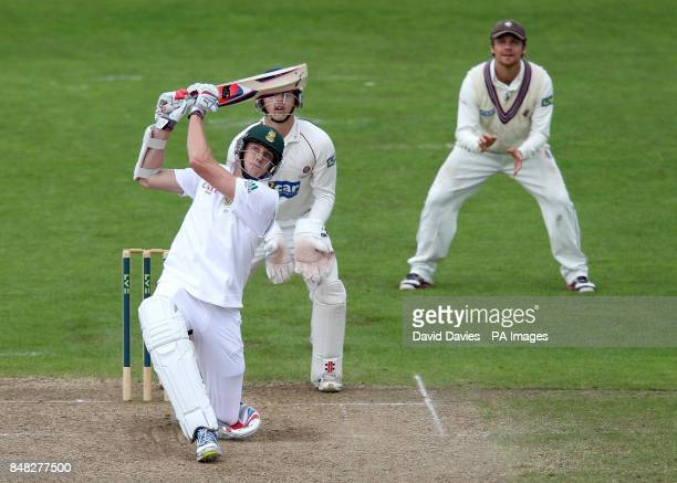 South Africa's Morne Morkel bats during the tour match at The County Ground Taunton