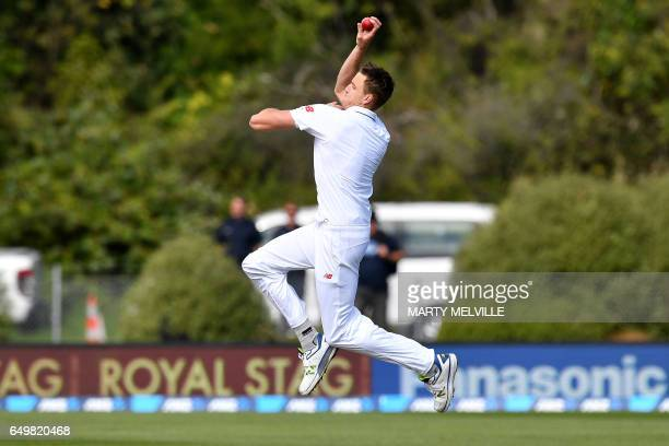 TOPSHOT South Africa's Morne Morkel bowls during day two of the 1st International cricket Test match between New Zealand and South Africa at the...