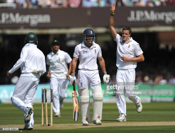 South Africa's Morne Morkel celebrates after bowling England's Andrew Strauss during the Third Investec Test Match at Lord's Cricket Ground London
