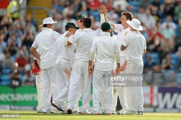 South Africa's Morne Morkel celebrates taking the wicket of England's James Taylor during the Investec Second Test match at Headingley Carnegie Leeds