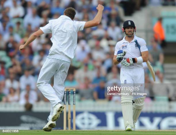 South Africa's Morne Morkel celebrates the wicket of England's Matt Prior during the Investec first test match at the Kia Oval London
