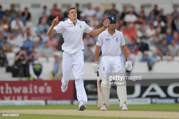 South Africa's Morne Morkel reacts while bowling during the Investec Second Test match at Headingley Carnegie Leeds