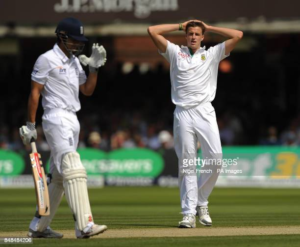 South Africa's Morne Morkel shows his frustration as England's Alastair Cook misses a delivery during the Third Investec Test Match at Lord's Cricket...
