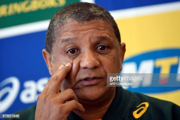 South Africa's national rugby union team head coach Allister Coetzee attends a press conference on November 13 2017 in Paris five days ahead of the...