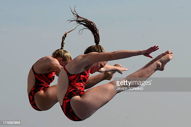 South Africa's Nicole Gillis and Julia Vincent compete in the women's 3metre synchro springboard preliminary diving event in the FINA World...