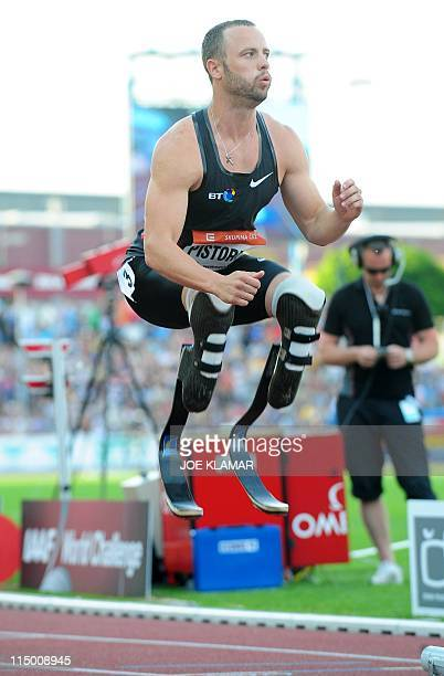 South Africa's Oscar Pistorius warms up before the men's 400m event on May 31 2011 at the Zlata Tretra athletics meeting in the eastern Czech city of...