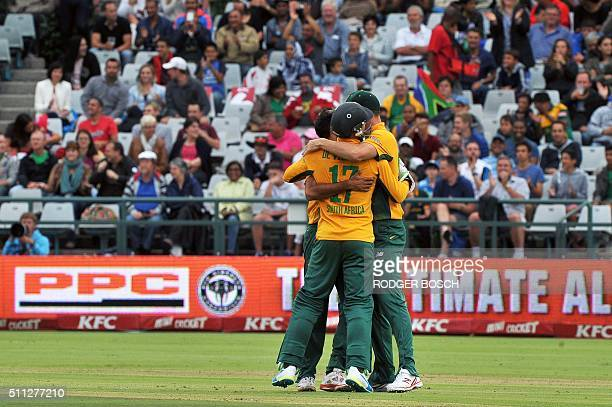 South Africa's players celebrate after the dismissal of England's Ben Stokes during the first Twenty20 international cricket match between South...