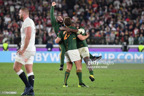 South Africa's players celebrate winning the Japan 2019 Rugby World Cup final match between England and South Africa at the International Stadium...