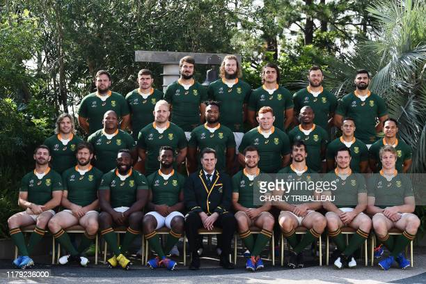 South Africa's players pose for a team photo session on the eve of their final against England at the team's hotel in Urayasu near Tokyo on November...