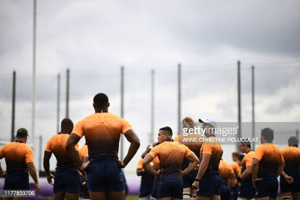 South Africa's players take part in a training session at Fuchu Asahi Football Park in Tokyo on October 24 ahead of their Japan 2019 Rugby World Cup...