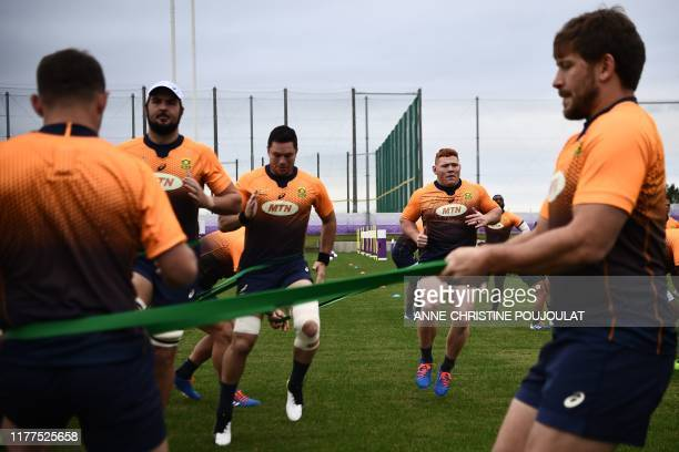 South Africa's players take part in a training session Fuchu Asahi Football Park in Tokyo on October 22 ahead of their Japan 2019 Rugby World Cup...