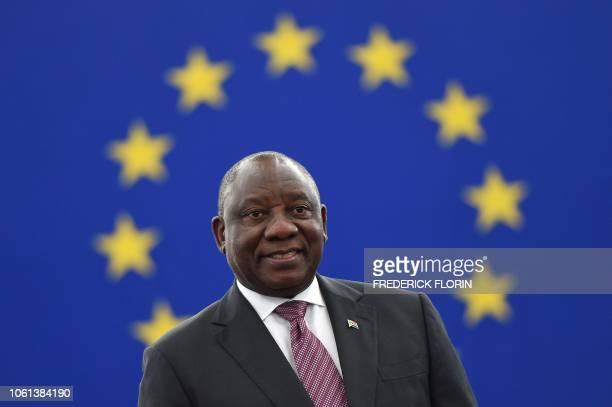 South Africa's President Cyril Ramaphosa arrives to deliver a speech during a plenary session at the European Parliament on November 14 in Strasbourg...