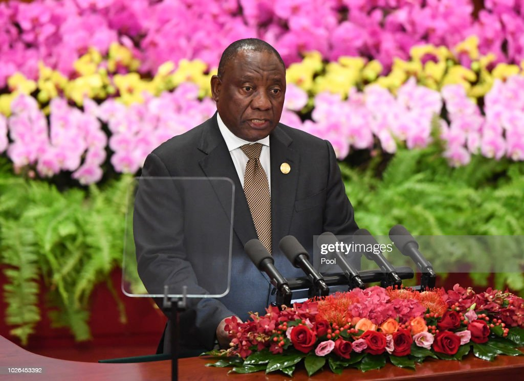 South Africa's President Cyril Ramaphosa gives a speech during the opening ceremony of the Forum on China-Africa Cooperation at the Great Hall of the People on September 3, 2018 in Beijing, China.