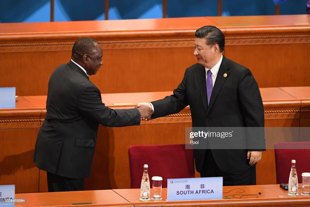 South Africa's President Cyril Ramaphosa, left, shakes hands with China's President Xi Jinping after his speech during the opening ceremony of the Forum on China-Africa Cooperation at the Great Hall of the People on September 3, 2018 in Beijing, China.
