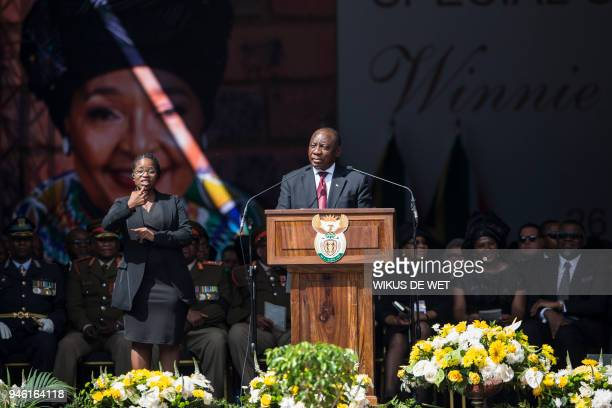 South Africa's President Cyril Ramaphosa speaks during the funeral ceremony of Winnie Madikizela-Mandela at Orlando Stadium in Soweto, in...