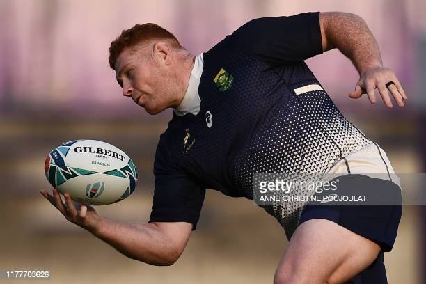 South Africa's prop Steven Kitshoff takes part in a training session at Fuchu Asahi Football Park in Tokyo on October 23 ahead of their Japan 2019...