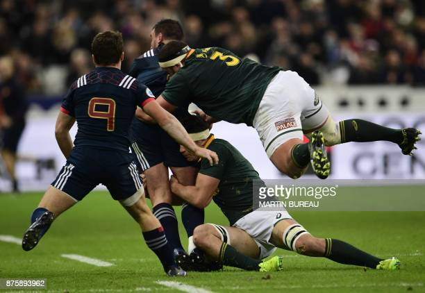 South Africa's prop Wilco Louw leaps to tackle during the friendly rugby union international Test match between France and South Africa's Springboks...