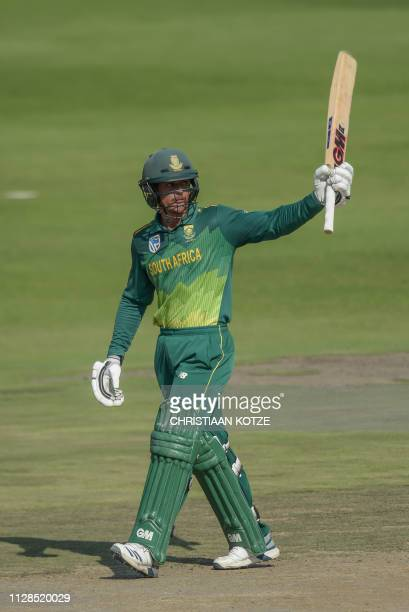 South Africa's Quinton de Kock celebrates after scoring a halfcentury 50 runs0 during the first oneday international cricket match between South...