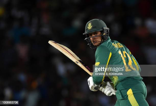 South Africa's Quinton de Kock plays a shot during the second oneday international cricket match between Sri Lanka and South Africa at the Rangiri...