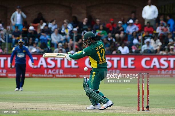 South Africa's Quinton de Kock plays a shot during their One Day International cricket match against Sri Lanka at St George's Park on January 28 in...